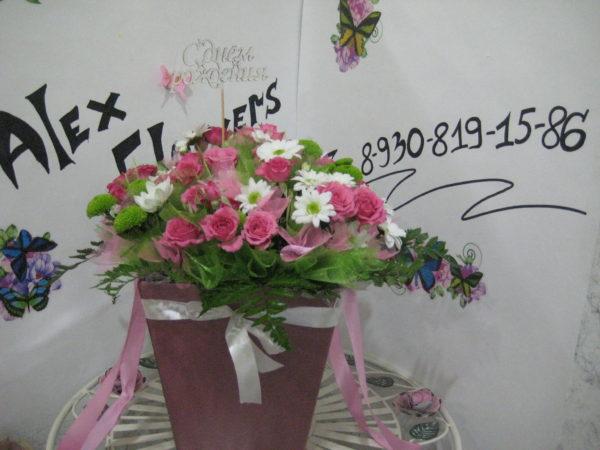 Цветы в сумке-коробке