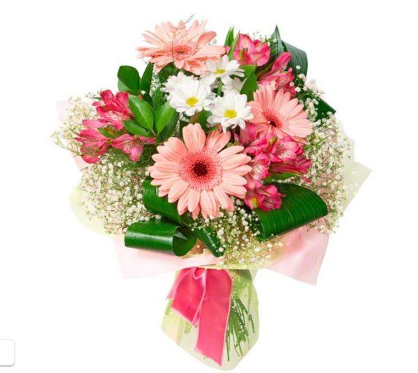 Букет из гербер с альстромериями и хризантемами