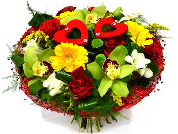 Букет из орхидей с герберами и розами