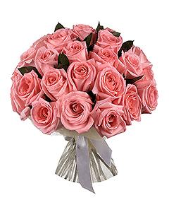 Букет с 21 розовой розой.
