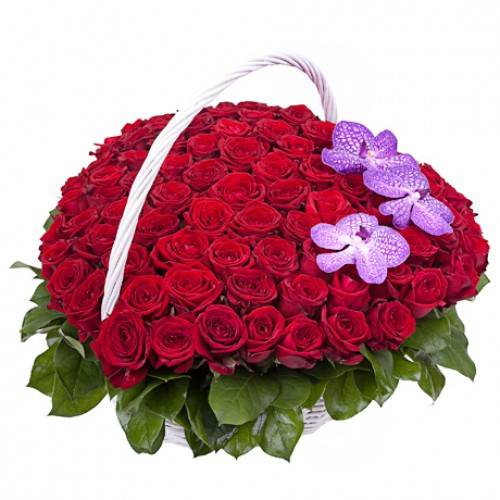Красная роза и орхидея «Ванда»