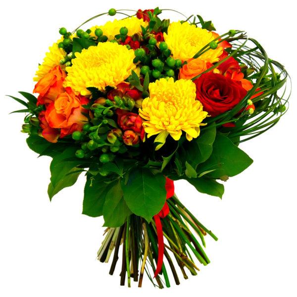 Букет из одноголовых хризантем с розами