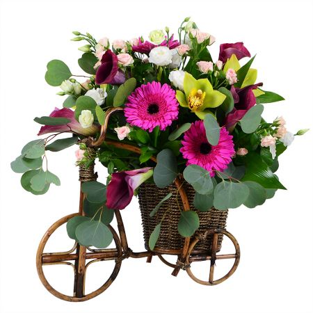Велосипед из живых цветов.