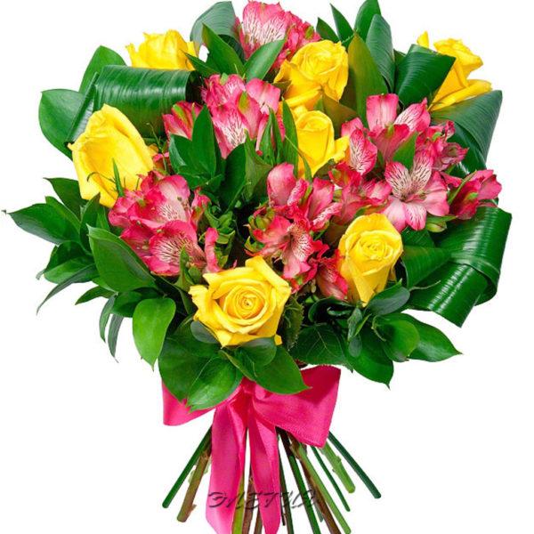 Букет с альстромерией и розой.