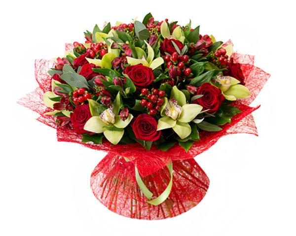 Букет с орхидеями.