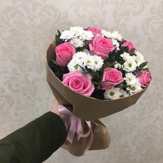 Букет с розами и хризантемами №16