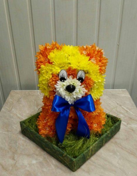 Львёнок из цветов.