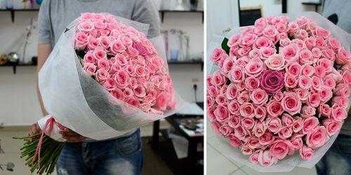 Розовые розы.