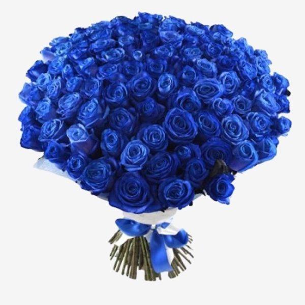 Букет с синими розами.