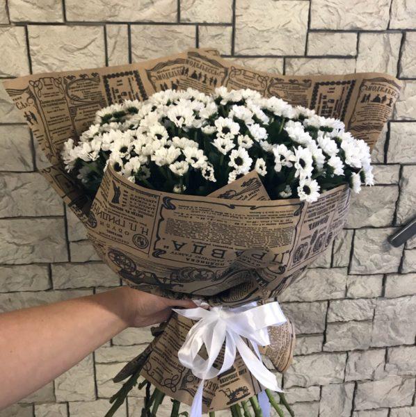 Букет с хризантемой сантини